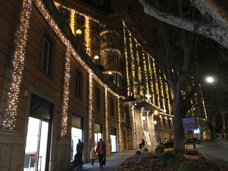 Majestic Hotel lit for Christmas - Rome, Italy