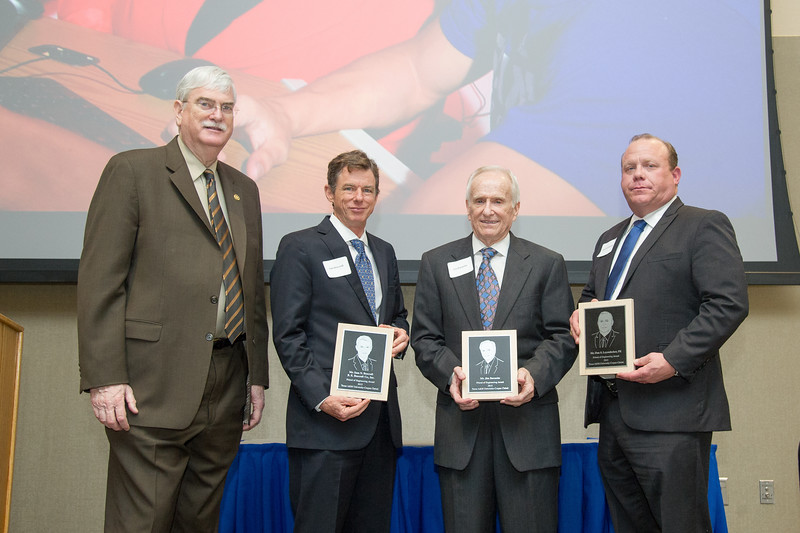 TAMU-CC President Dr. Flavius Killebrew(left) takes a portrait with the recipients of the Frinds of Engineering Award. Sam Beercroft, Jim Barnette and Dan Leyendecker were honored for their outstanding support for the School of Engineering and Computing Sciences.