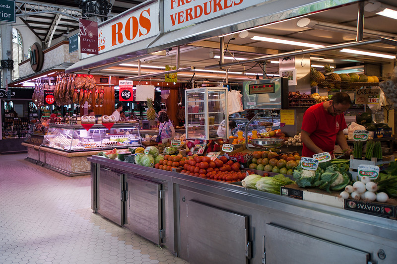 Fresh fruit and vegetable store in Mercado Central, Valencia, Spain