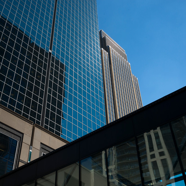 Modern office buildings at Downtown Minneapolis, Hennepin County, Minnesota, USA