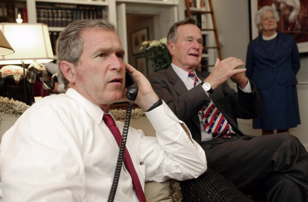. 2000: George W. Bush. Republican presidential candidate Texas Gov. George W. Bush, left, along with his parents George Bush and Barbara watch election returns Tuesday evening, Nov. 7, 2000, in Austin, Texas. (AP Photo/Eric Draper)