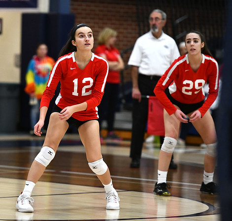 11/7/2019 Mike Orazzi | StaffrConard High School's Kayla Oriola (12)during the CCC girls volleyball tournament at Avon High School on Thursday.rr