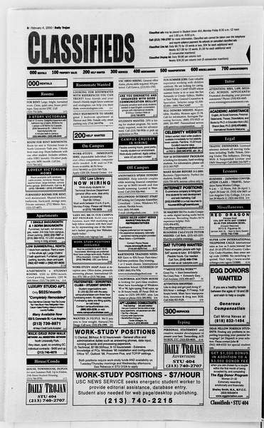 Daily Trojan, Vol. 139, No. 17, February 04, 2000