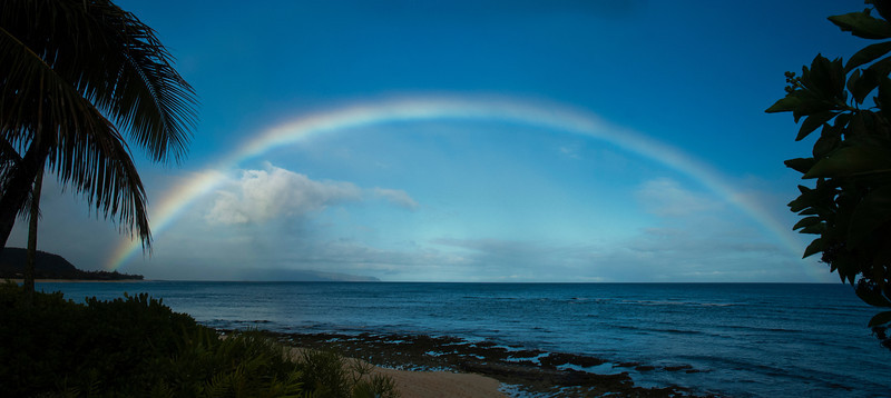 Rainbow off Sunset Point in the morning North Shore of O'ahu, Hawai'i  July 11, 2013