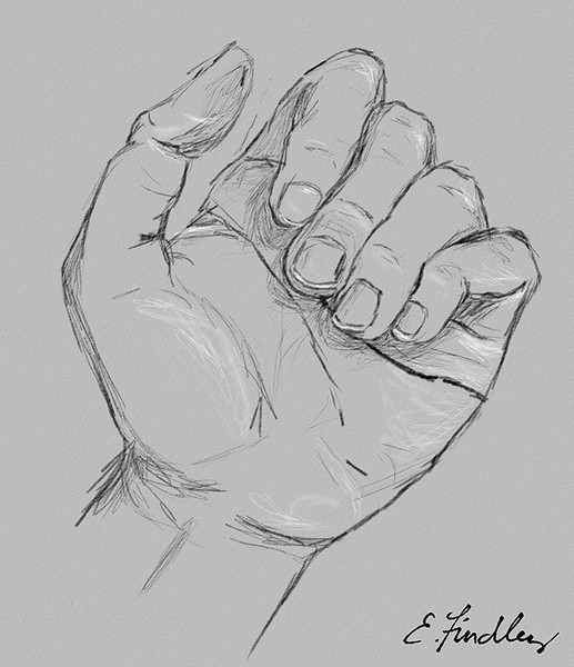 "I've been reading through the book ""Drawing on the Right Side of the Brain"" by Betty Edwards.  So, as practice I've done several sketches of my hand...I thought I'd post this one as an example."