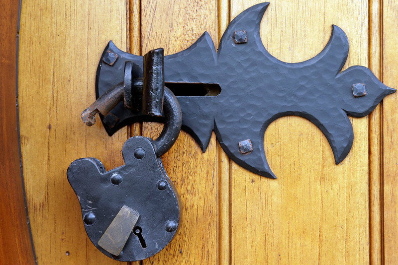 . Shown is the lock on the front door at the ìHobbit Houseî Tuesday, Dec. 11, 2012, in Chester County, near Philadelphia. Architect Peter Archer has designed a ìHobbit Houseî containing a world-class collection of J.R.R. Tolkien manuscripts and memorabilia. (AP Photo/Matt Rourke)