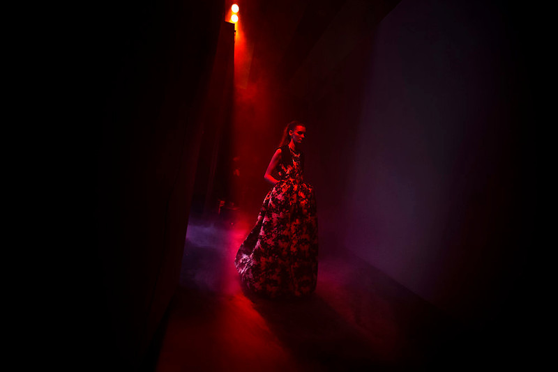 . A model displays an Autumn/Winter design by Teresa Helbig during Madrid\'s Fashion Week, in Madrid, Monday, Feb. 18, 2013. (AP Photo/Daniel Ochoa De Olza)