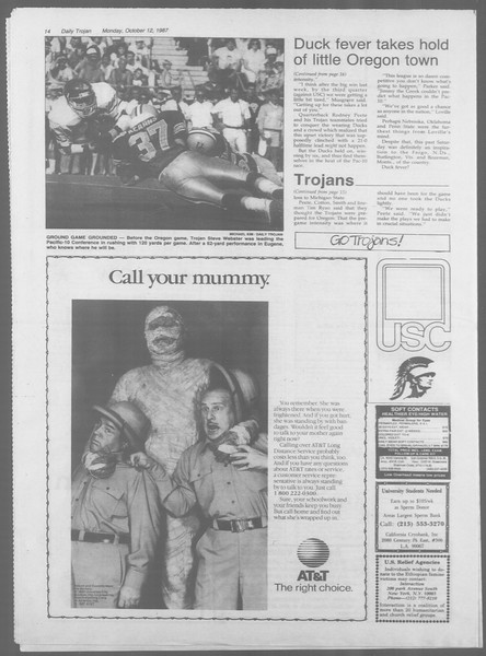 Daily Trojan, Vol. 105, No. 27, October 12, 1987