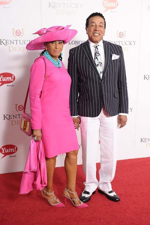 . LOUISVILLE, KY - MAY 04:  Smokey Robinson and Frances Robinson attend the 139th Kentucky Derby at Churchill Downs on May 4, 2013 in Louisville, Kentucky.  (Photo by Michael Loccisano/Getty Images)