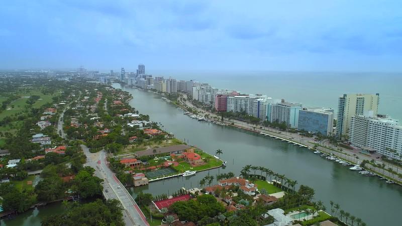 Aerial pull out establishing shot Miami Beach Florida