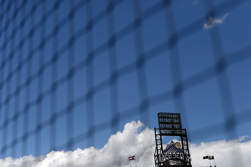 . DENVER, CO - MAY 11: Backstop netting agains the Colorado blue sky and scoreboard. The Colorado Rockies take on the Arizona Diamondbacks May 11, 2016 at Coors Field. (Photo By John Leyba/The Denver Post)