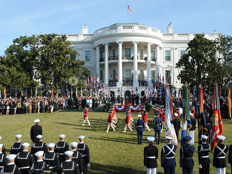 President Barack Obama and First Lady Michelle Obama welcome British Prime Minister David Cameron and Mrs. Samantha Cameron to the White House for an official Arrival Ceremony,