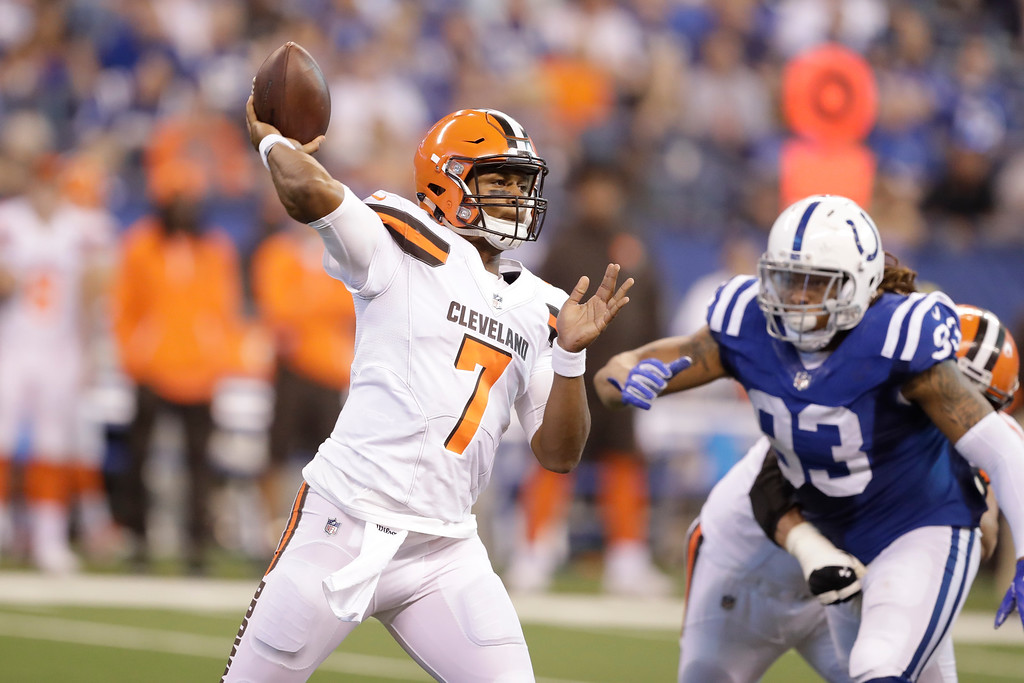 . Cleveland Browns quarterback DeShone Kizer (7) throws in front of Indianapolis Colts outside linebacker Jabaal Sheard (93) during the second half of an NFL football game in Indianapolis, Sunday, Sept. 24, 2017. (AP Photo/Darron Cummings)
