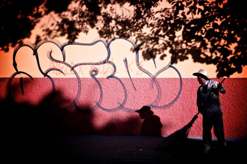 Late Day Street Sweeper - Oaxaca, Mexico