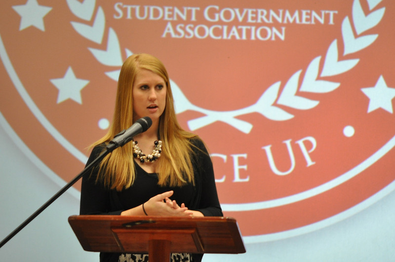 Current SGA President, Jordan Love, introduces the candidates in Dimensions Tuesday Feb 28, 2012.
