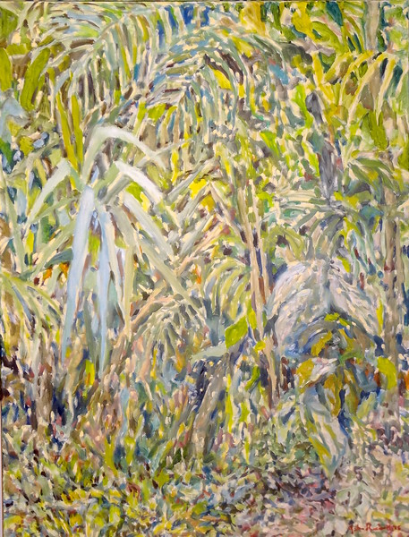 """© 2016 John Rachell Title: Garden Energy 2016 Image Size: 30"""" W by 40"""" D Dated: 2016 Medium and Support: Oils on primed canvas Signed: LR Signature"""