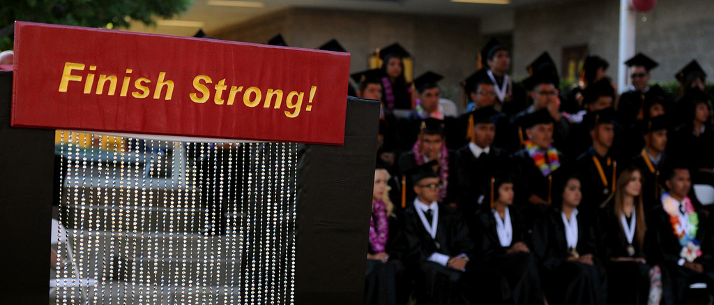 ". ""Finish Strong\"" the students moto for the year during the Vail High School commencement at Vail High School on Tuesday, June 18, 2013 in Montebello, Calif.