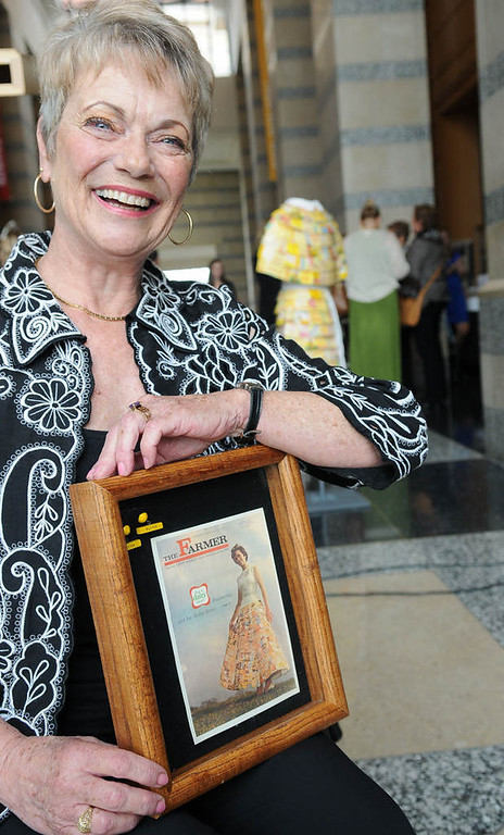 . Former Princess Kay of the Milky Way Karen Geier poses with a magazine cover from June of 1965 with her on the cover. Geier, shown in a butter carton skirt, was the first Princess Kay to have her likeness carved in butter. (Pioneer Press: Sherri LaRose-Chiglo)