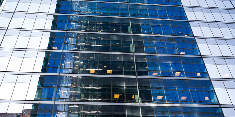 Low angle view of office tower, Toronto, Ontario, Canada