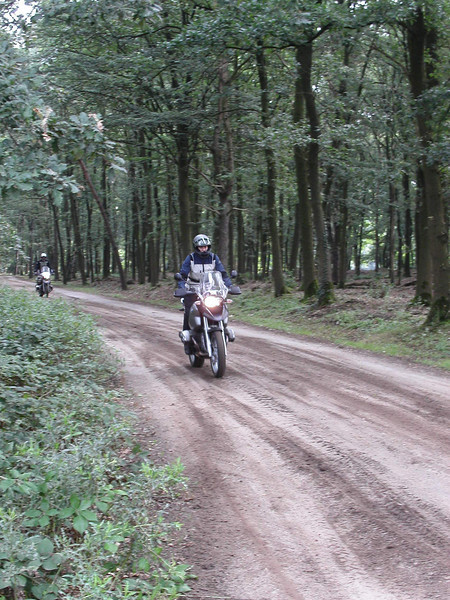 Dutch rider Els gets a taste for off road riding in the Netherlands (she's now traded her R1200GS for an HP2 - see later photos)