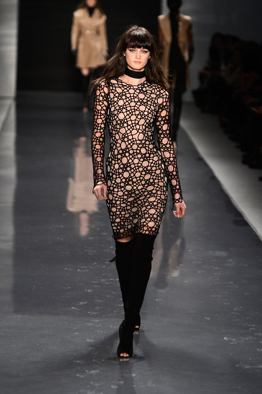 . A model walks the runway at the Kaufmanfranco Fall 2013 fashion show during Mercedes-Benz Fashion Week at The Stage at Lincoln Center on February 11, 2013 in New York City.  (Photo by Frazer Harrison/Getty Images for Mercedes-Benz Fashion Week)