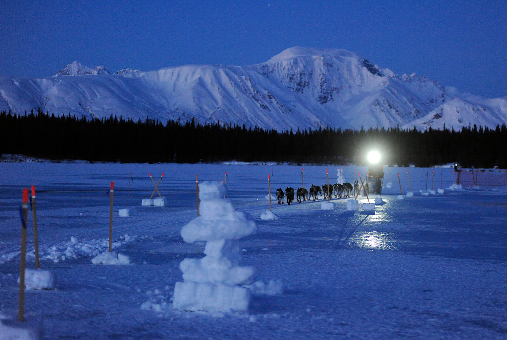 . John Baker comes into the Finger Lake checkpoint during the 2014 Iditarod Trail Sled Dog Race on Monday, March 3, 2014, near Wasilla, Alaska. (AP Photo/The Anchorage Daily News, Bob Hallinen)