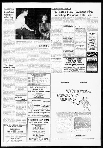 Daily Trojan, Vol. 52, No. 73, February 17, 1961