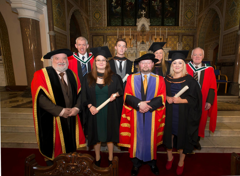 Pictured are Mary Butler, New Roos, Susan Duncan, Dublin, Michael Foley, Cork and Simone Duffy, Cavan who graduated Bachelor of Arts (Hons) in Applied Social Studies. Also pictured are Jack Walsh, Deputy Chairperson Govering body, Dr. Derek O'Byrne, Registrar of Waterford Institute of Technology (WIT), Dr Richard Hayes and Dr. Michael Howlett. Picture: Patrick Browne.