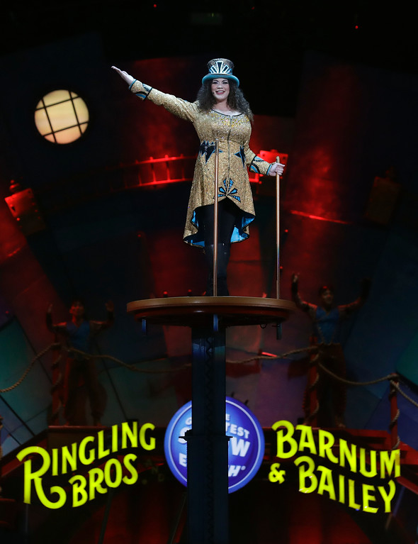 ". Ringling Bros. and Barnum & Bailey Ringmaster Kristen Michelle Wilson appears during a performance Saturday, Jan. 14, 2017, in Orlando, Fla. The Ringling Bros. and Barnum & Bailey Circus will end the ""The Greatest Show on Earth\"" in May, following a 146-year run of performances. Kenneth Feld, the chairman and CEO of Feld Entertainment, which owns the circus, told The Associated Press, declining attendance combined with high operating costs are among the reasons for closing. (AP Photo/Chris O\'Meara)"