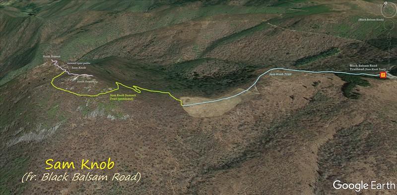 Sam Knob Hike Route Map
