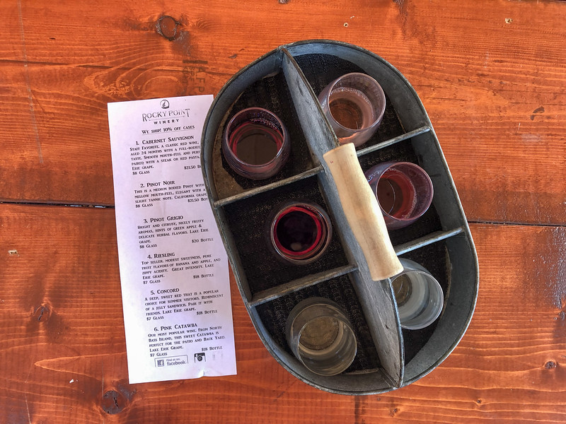 Wine flight at Rocky Point Winery