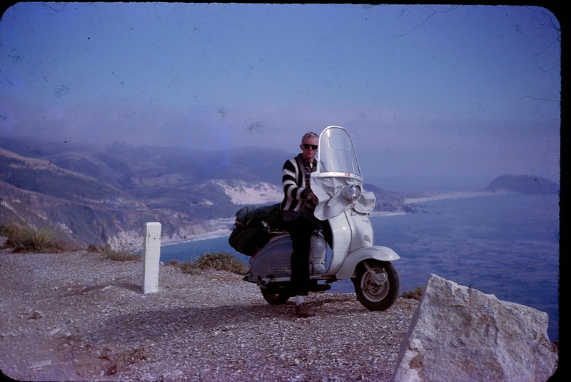 1963 09 Phil Lindberg and Lambretta at Big Sur.jpg