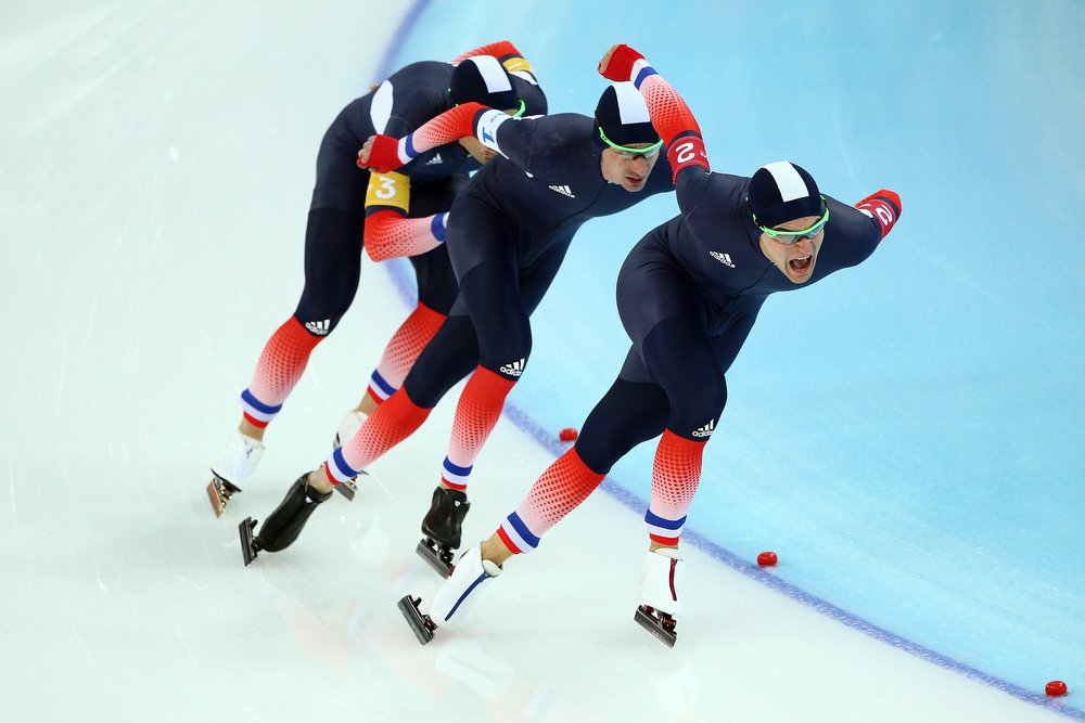 . (L to R)  Benjamin Mace, Alexis Contin and Ewen Fernandez of France compete during the Men\'s Team Pursuit Final D Speed Skating event on day fifteen of the Sochi 2014 Winter Olympics at  at Adler Arena Skating Center on February 22, 2014 in Sochi, Russia.  (Photo by Clive Mason/Getty Images)
