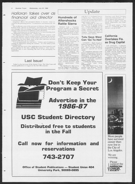 Summer Trojan, Vol. 101, No. 10, July 23, 1986