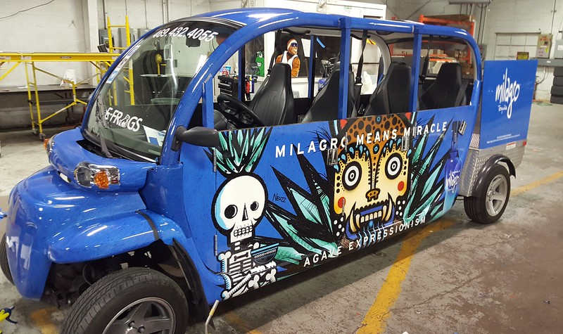 Sky Blue E-FROG  Skinzwrap with Milagro Tequila Art Advertising, E-FROG will take you anywhere in Deep Ellum/Downtown Dallas, Texas