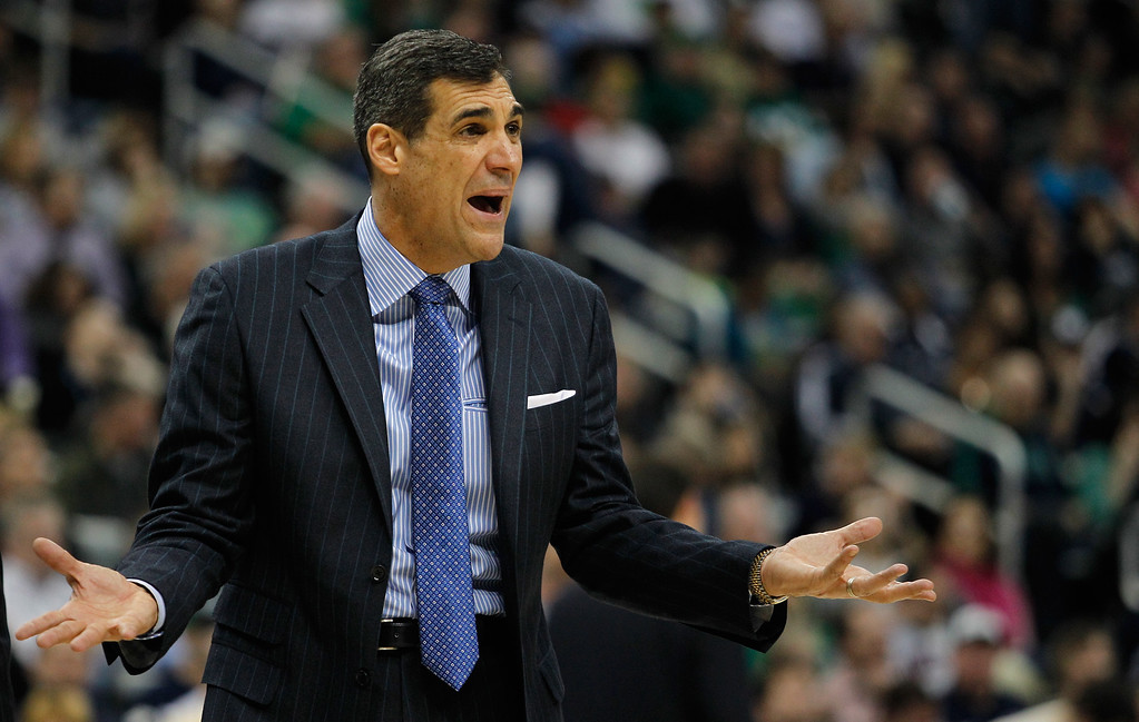 . Head coach Jay Wright of the Villanova Wildcats reacts to a play in the second half against the North Carolina State Wolfpack during the third round of the 2015 NCAA Men\'s Basketball Tournament at Consol Energy Center on March 21, 2015 in Pittsburgh, Pennsylvania.  (Photo by Justin K. Aller/Getty Images)
