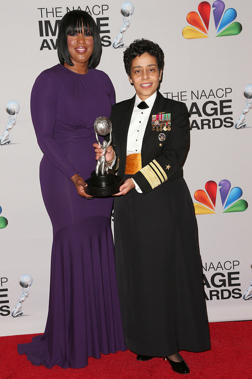. NAACP Chairman of the National Board of Directors Roslyn M. Brock and United States Navy Vice Admiral Michelle Janine Howard, recipient of the Chairman\'s Award, poses in the press room during the 44th NAACP Image Awards at The Shrine Auditorium on February 1, 2013 in Los Angeles, California.  (Photo by Frederick M. Brown/Getty Images for NAACP Image Awards)