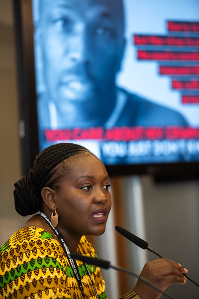 22nd International AIDS Conference (AIDS 2018) Amsterdam, Netherlands.   Copyright: Steve Forrest/Workers' Photos/ IAS  Photo shows: The Criminalization of HIV JIAS Press Conference. Sarai-Chisala Tempelhoff, Women Lawyers Association, Malawi.