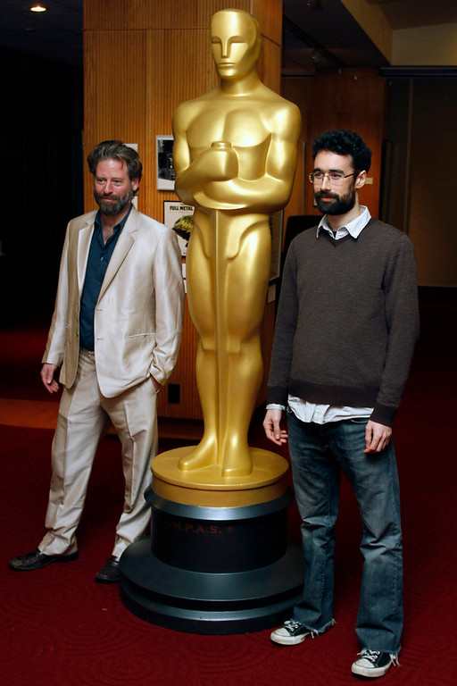 """. Sam French (L) and Ariel Nasr, filmmakers of the Live-Action Short Film nominee \""""Buzkashi Boys\"""", arrive at \""""Oscar Celebrates: Shorts,\"""" featuring this year\'s Oscar-nominated films in the Animated and Live-Action Short Film categories at the Academy of Motion Picture Arts and Sciences in Beverly Hills, California, February 19, 2013. REUTERS/Jonathan Alcorn"""
