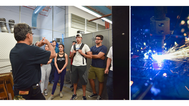 Lab Coordinator Jack Esparza gives students a demonstration on using a plasma cutter.