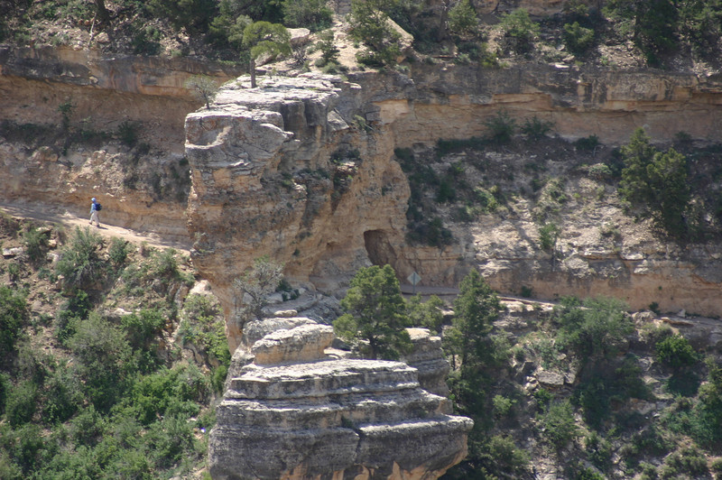 Very close photo of the first downslope of the Bright Angel Trail, where you go through a little tunnel in an outcropping.  I've been down that part of the trail (not this trip).