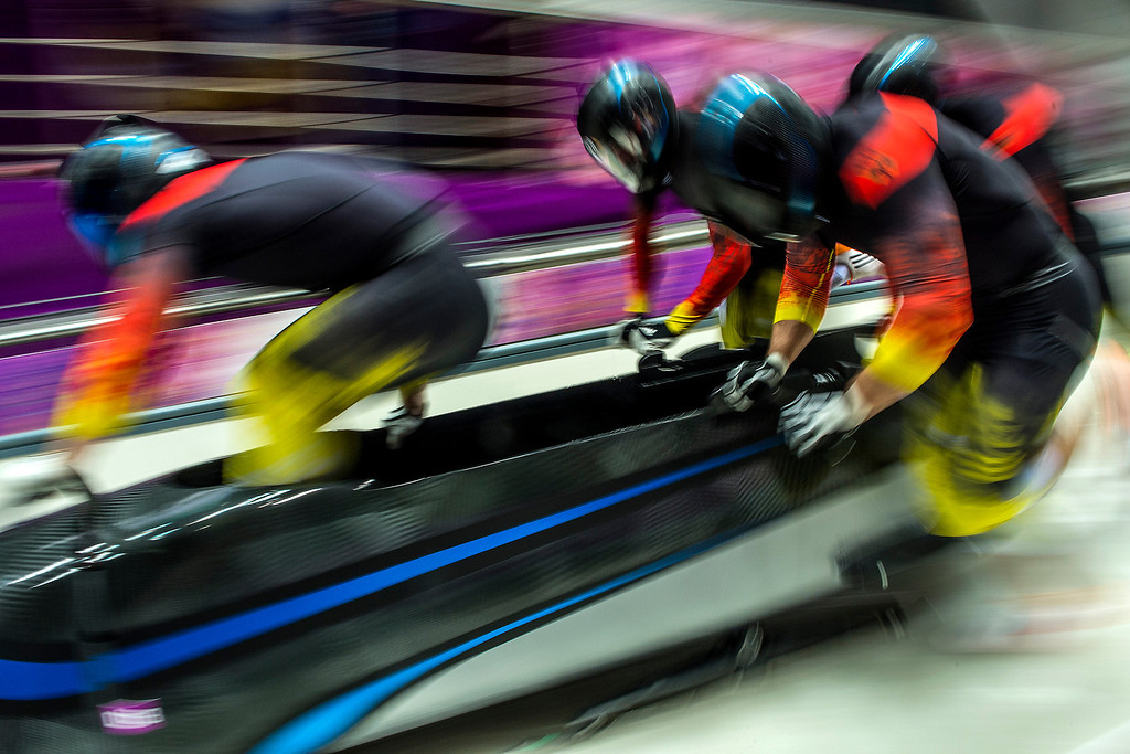. KRASNAYA POLYANA, RUSSIA  - JANUARY 22: Germany-2 with Francesco Friedrich, Jannis Baecker, Gregor Bermbach and Thorsten Margis compete in the four-man bobsled at Sanki Sliding Center during the 2014 Sochi Olympics Saturday February 22, 2014.  (Photo by Chris Detrick/The Salt Lake Tribune)