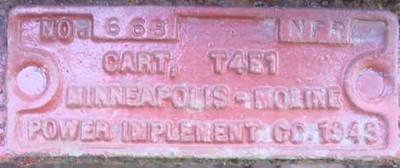 T4E1 MINNEAPOLIS-MOLINE CART #668 1943