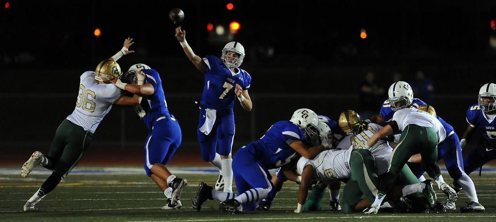 . Charter Oak quarterback Kory Brown (7) passes in the first half of a prep football game against Damien at Charter Oak High School in Covina, Calif., Friday, Oct. 11, 2013.    (Keith Birmingham Pasadena Star-News)