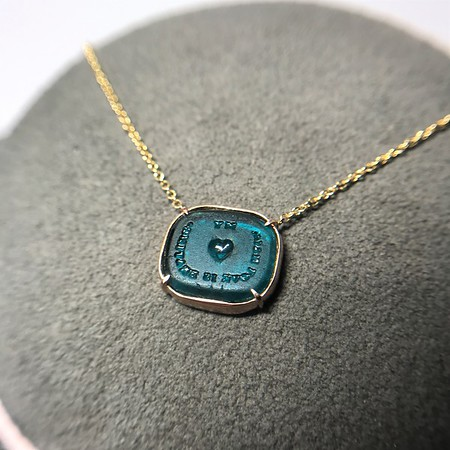 """My Heart With Love is Beating"" Turquoise Glass Pendant by Seal & Scribe"