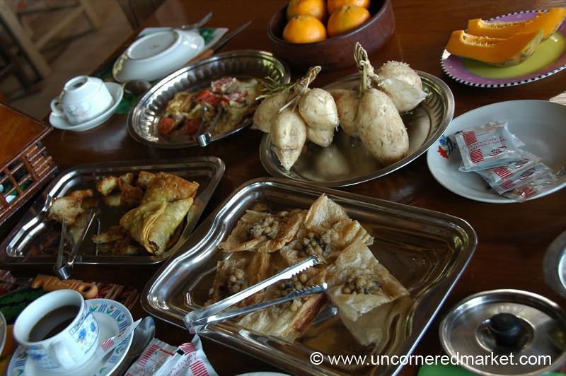 Huge Breakfast at Guest House - Toungoo, Burma