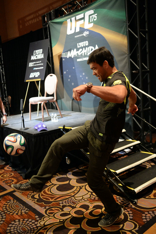 . Lyoto Machida demonstrates his soccer skills during Ultimate Media Day at the Mandalay Bay Events Center Thursday, July 3, 2014. (Photo by Hans Gutknecht/Los Angeles Daily News)