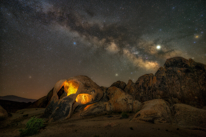 Made from 19 light frames by Starry Landscape Stacker 1.8.0.  Algorithm: Min Horizon Star Dupe