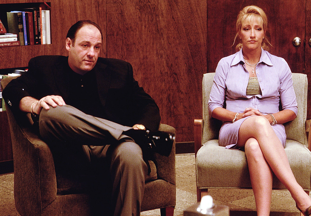 """. James Gandolfini as Tony Soprano and Edie Falco as Carmela Soprano seek counseling in HBO\'s hit television series, \""""The Sopranos\"""" (Year 3). (Photo by HBO)"""