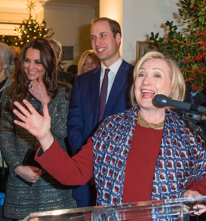. Former United States Secretary of State, Hillary Clinton gives a speech in front of Prince William, Duke of Cambridge, Catherine, Duchess of Cambridge and guests during a conservation reception at British Consul General\'s Residence on December 8, 2014 in New York City.  (Photo by Samir Hussein - Pool/Getty Images)